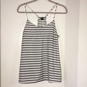 Black and white horizontal stripes blouse